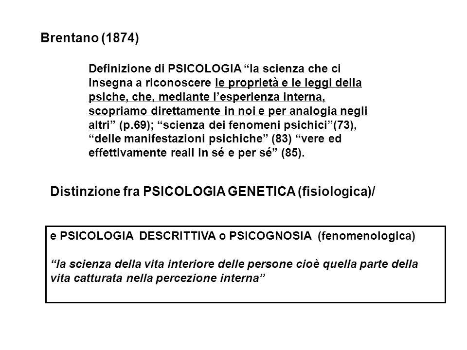 Distinzione fra PSICOLOGIA GENETICA (fisiologica)/