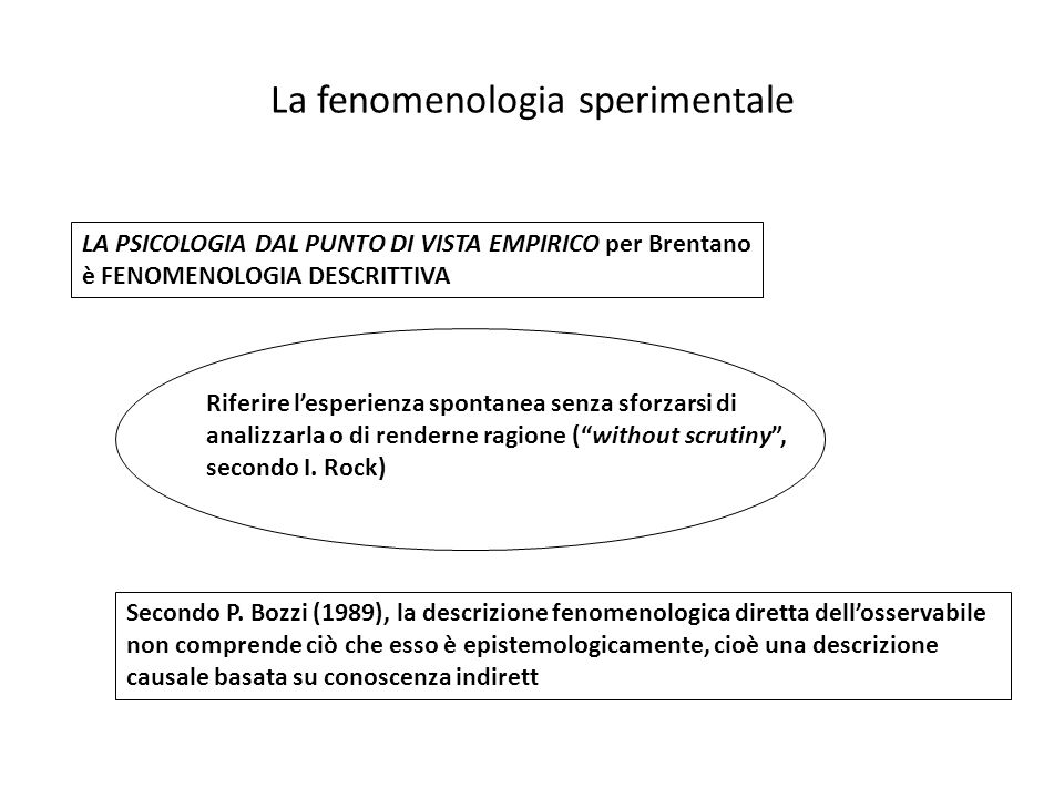 La fenomenologia sperimentale