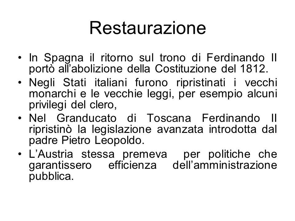 Restaurazione In Spagna il ritorno sul trono di Ferdinando II portò all'abolizione della Costituzione del 1812.