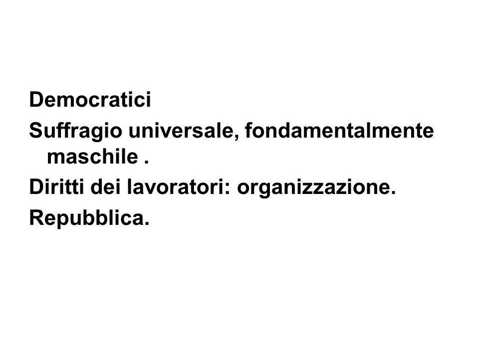 DemocraticiSuffragio universale, fondamentalmente maschile . Diritti dei lavoratori: organizzazione.