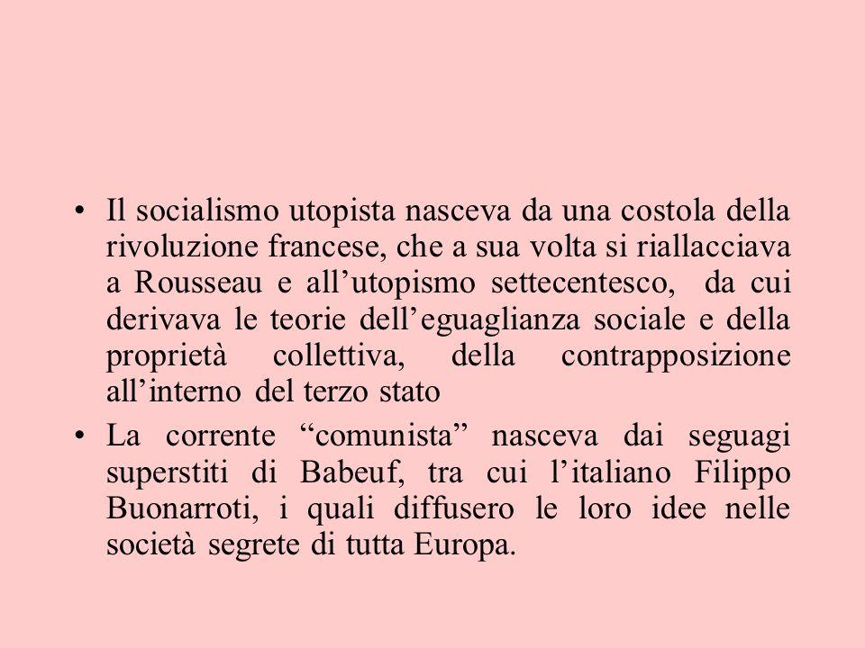 Il socialismo utopista nasceva da una costola della rivoluzione francese, che a sua volta si riallacciava a Rousseau e all'utopismo settecentesco, da cui derivava le teorie dell'eguaglianza sociale e della proprietà collettiva, della contrapposizione all'interno del terzo stato