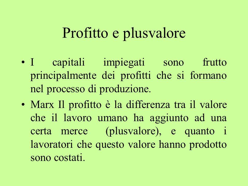 Profitto e plusvaloreI capitali impiegati sono frutto principalmente dei profitti che si formano nel processo di produzione.