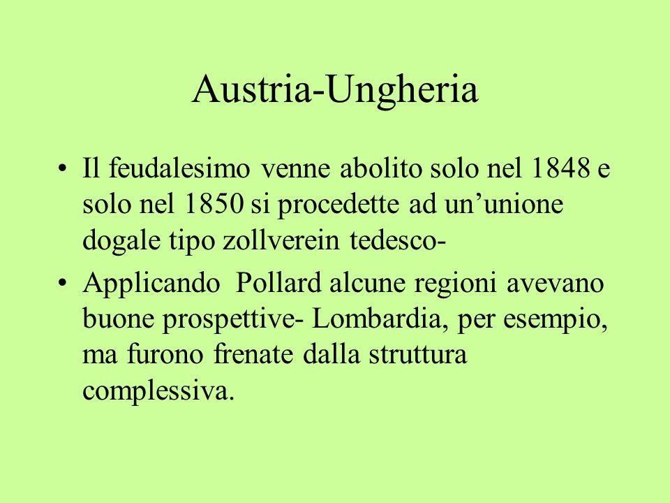 Austria-UngheriaIl feudalesimo venne abolito solo nel 1848 e solo nel 1850 si procedette ad un'unione dogale tipo zollverein tedesco-