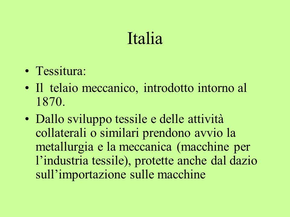 Italia Tessitura: Il telaio meccanico, introdotto intorno al 1870.