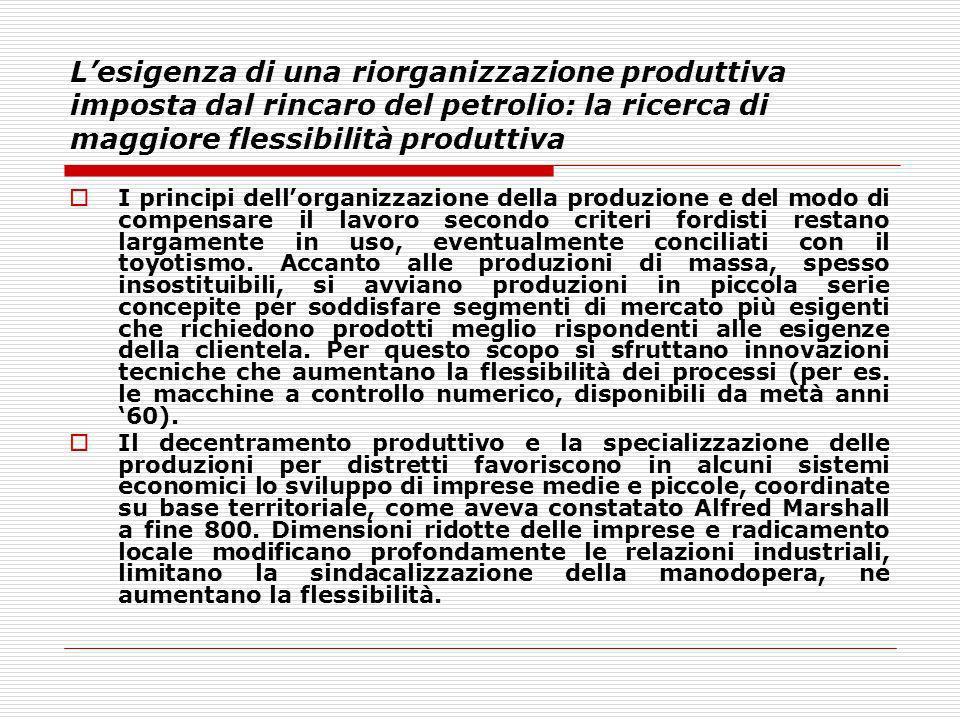 L'esigenza di una riorganizzazione produttiva imposta dal rincaro del petrolio: la ricerca di maggiore flessibilità produttiva