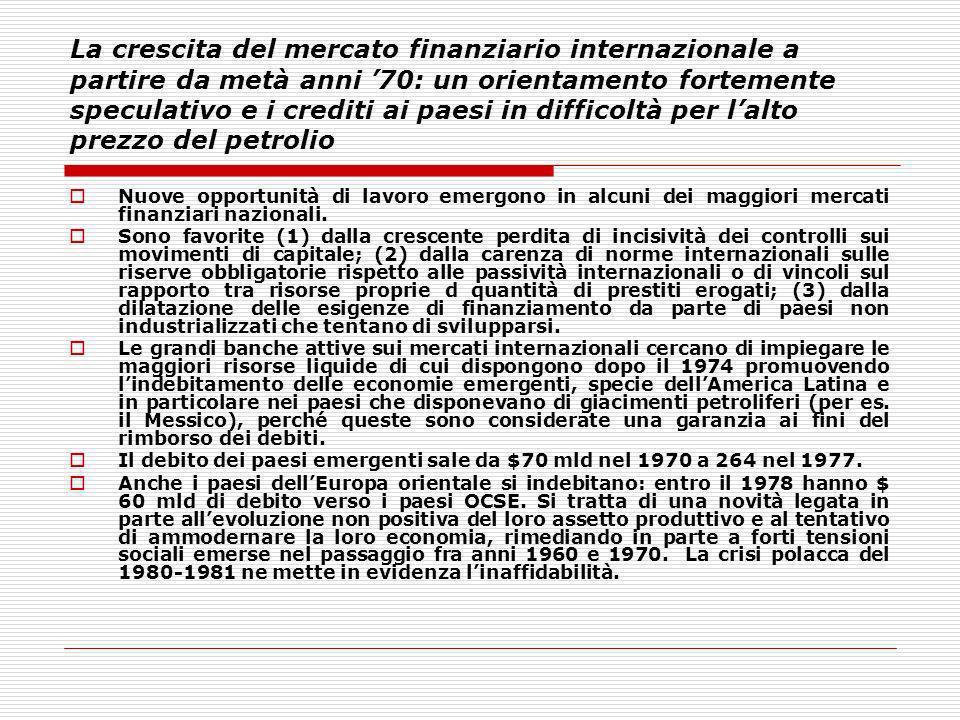 La crescita del mercato finanziario internazionale a partire da metà anni '70: un orientamento fortemente speculativo e i crediti ai paesi in difficoltà per l'alto prezzo del petrolio
