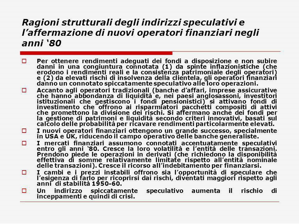 Ragioni strutturali degli indirizzi speculativi e l'affermazione di nuovi operatori finanziari negli anni '80