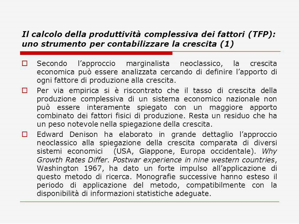 Il calcolo della produttività complessiva dei fattori (TFP): uno strumento per contabilizzare la crescita (1)