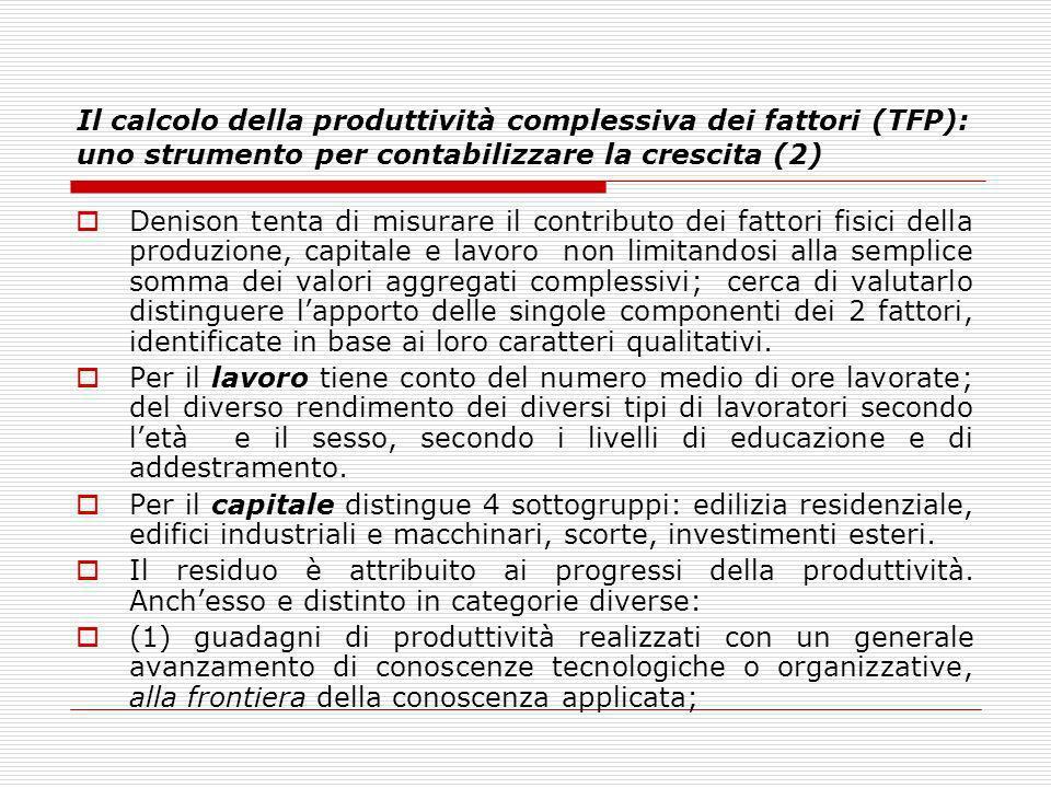 Il calcolo della produttività complessiva dei fattori (TFP): uno strumento per contabilizzare la crescita (2)