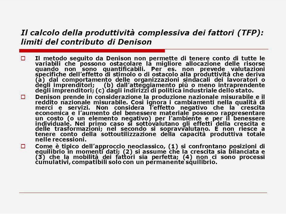 Il calcolo della produttività complessiva dei fattori (TFP): limiti del contributo di Denison