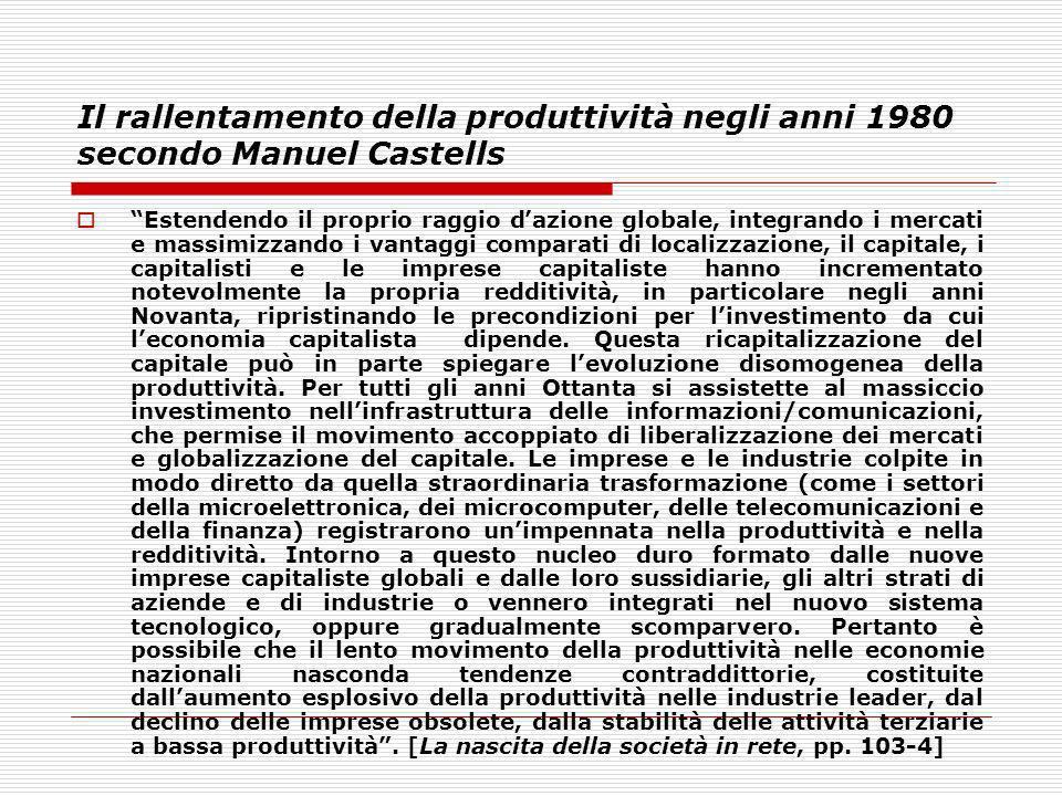 Il rallentamento della produttività negli anni 1980 secondo Manuel Castells