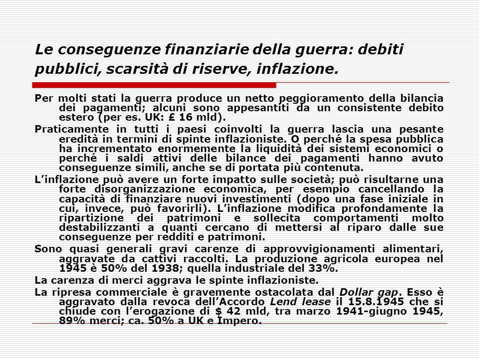 Le conseguenze finanziarie della guerra: debiti pubblici, scarsità di riserve, inflazione.