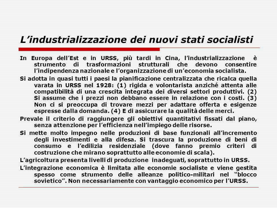 L'industrializzazione dei nuovi stati socialisti