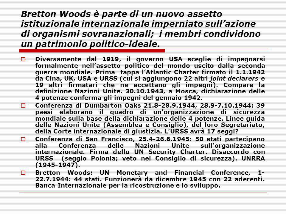 Bretton Woods è parte di un nuovo assetto istituzionale internazionale imperniato sull'azione di organismi sovranazionali; i membri condividono un patrimonio politico-ideale.