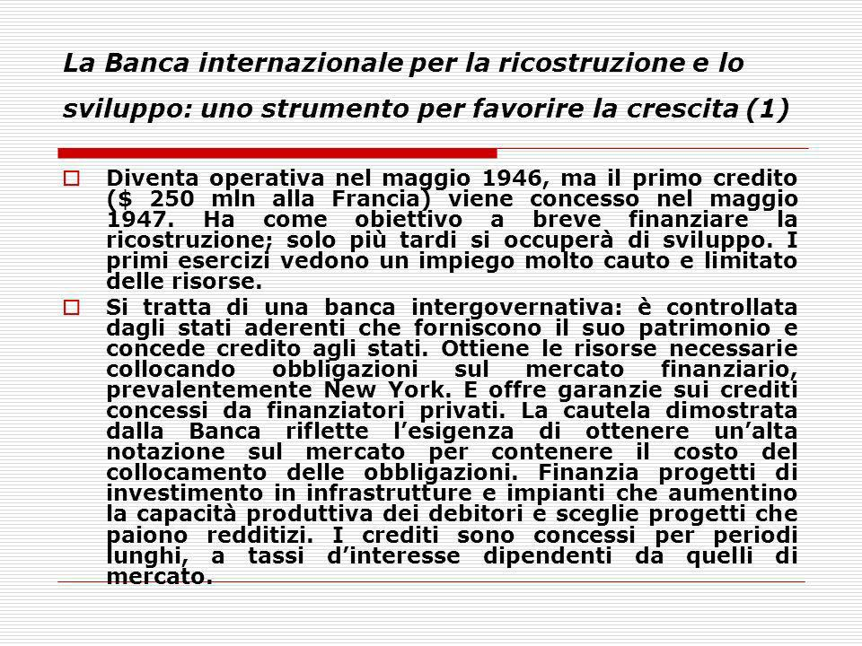 La Banca internazionale per la ricostruzione e lo sviluppo: uno strumento per favorire la crescita (1)