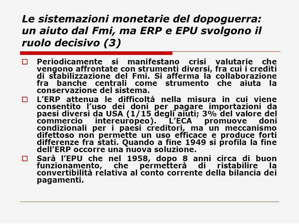 Le sistemazioni monetarie del dopoguerra: un aiuto dal Fmi, ma ERP e EPU svolgono il ruolo decisivo (3)