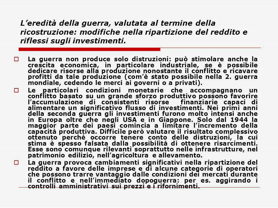 L'eredità della guerra, valutata al termine della ricostruzione: modifiche nella ripartizione del reddito e riflessi sugli investimenti.