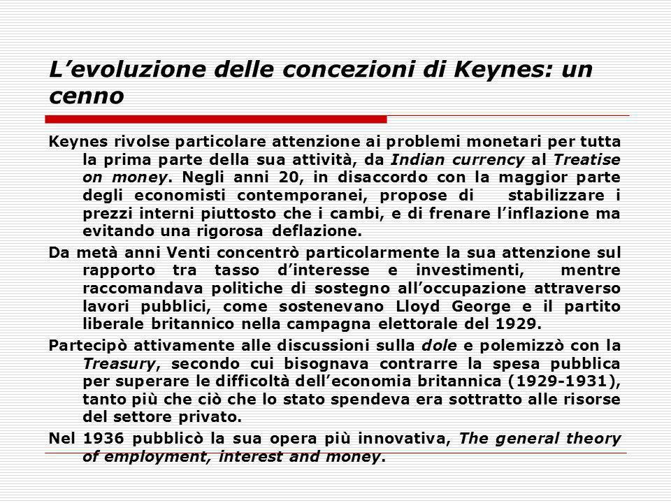 L'evoluzione delle concezioni di Keynes: un cenno