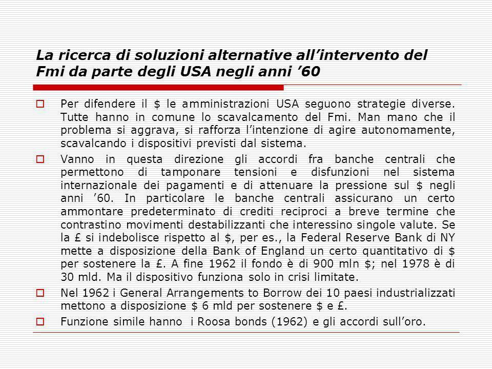 La ricerca di soluzioni alternative all'intervento del Fmi da parte degli USA negli anni '60