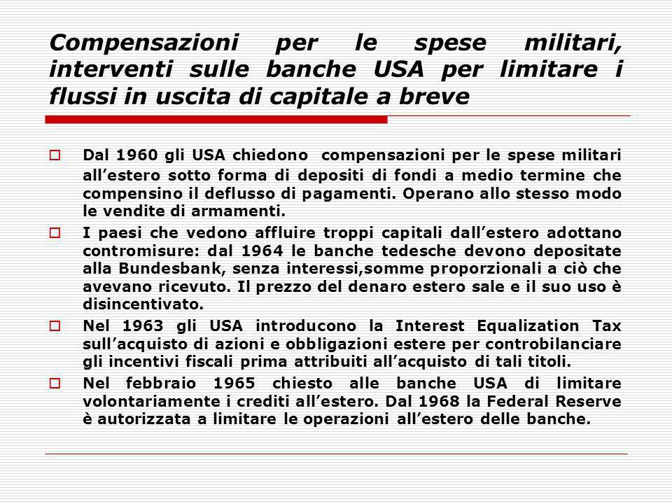 Compensazioni per le spese militari, interventi sulle banche USA per limitare i flussi in uscita di capitale a breve