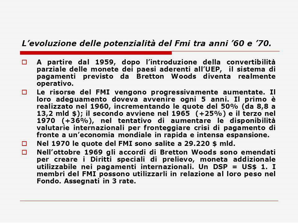 L'evoluzione delle potenzialità del Fmi tra anni '60 e '70.