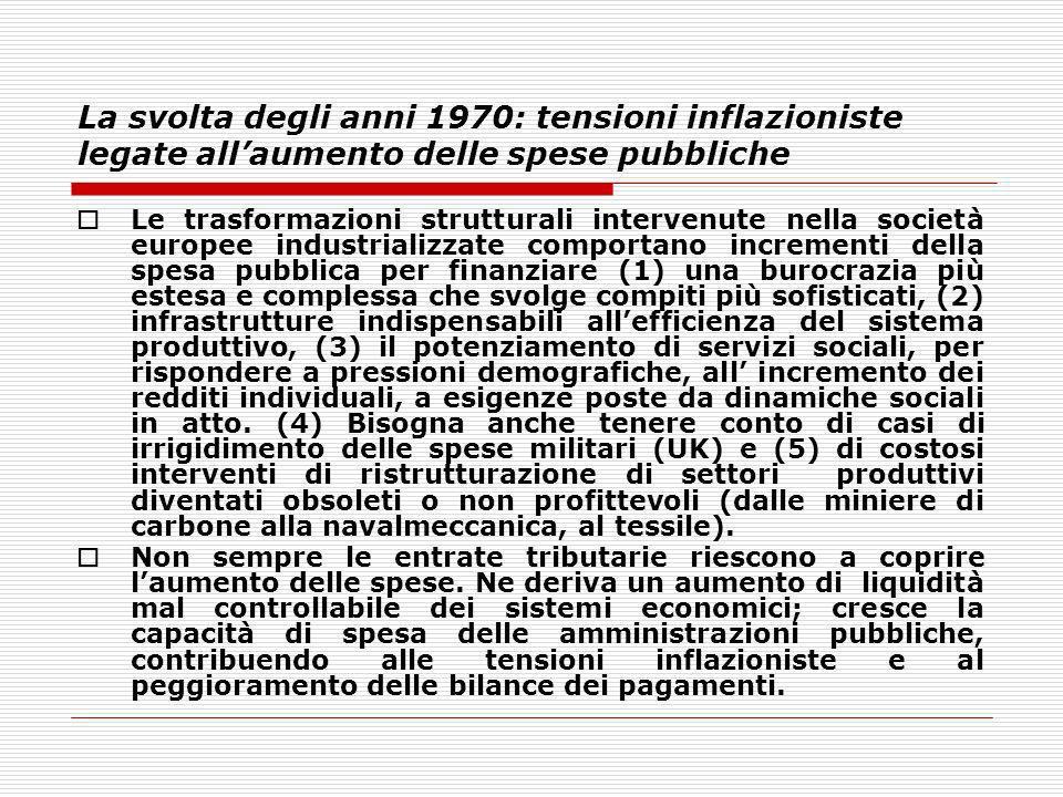 La svolta degli anni 1970: tensioni inflazioniste legate all'aumento delle spese pubbliche