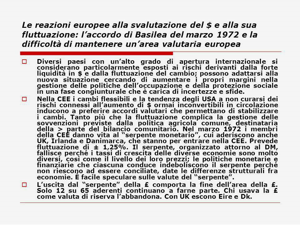 Le reazioni europee alla svalutazione del $ e alla sua fluttuazione: l'accordo di Basilea del marzo 1972 e la difficoltà di mantenere un'area valutaria europea