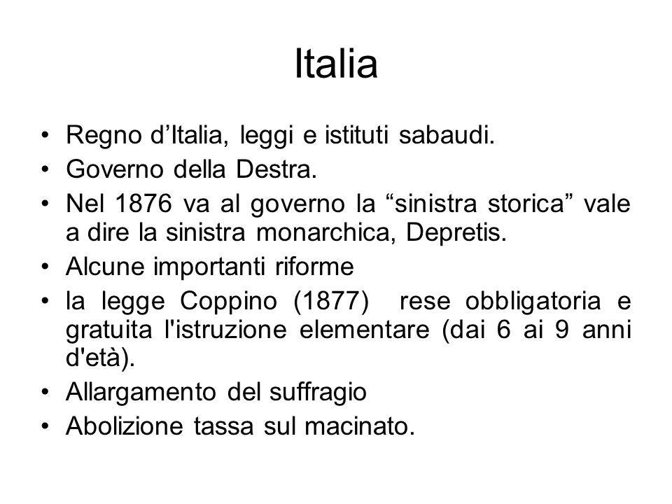 Italia Regno d'Italia, leggi e istituti sabaudi. Governo della Destra.