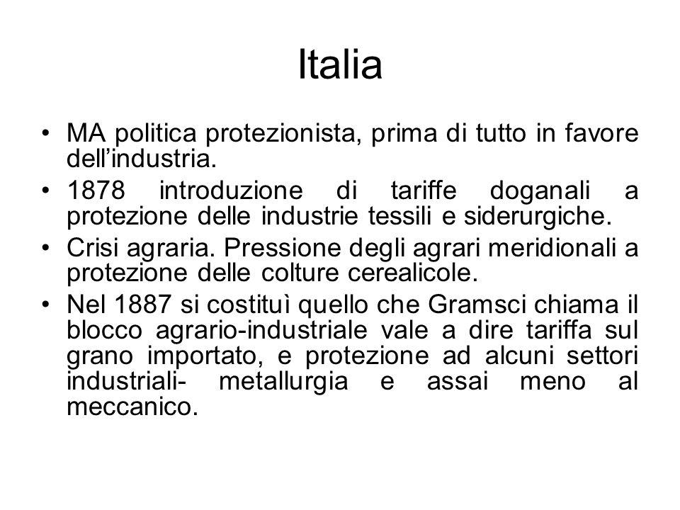 Italia MA politica protezionista, prima di tutto in favore dell'industria.