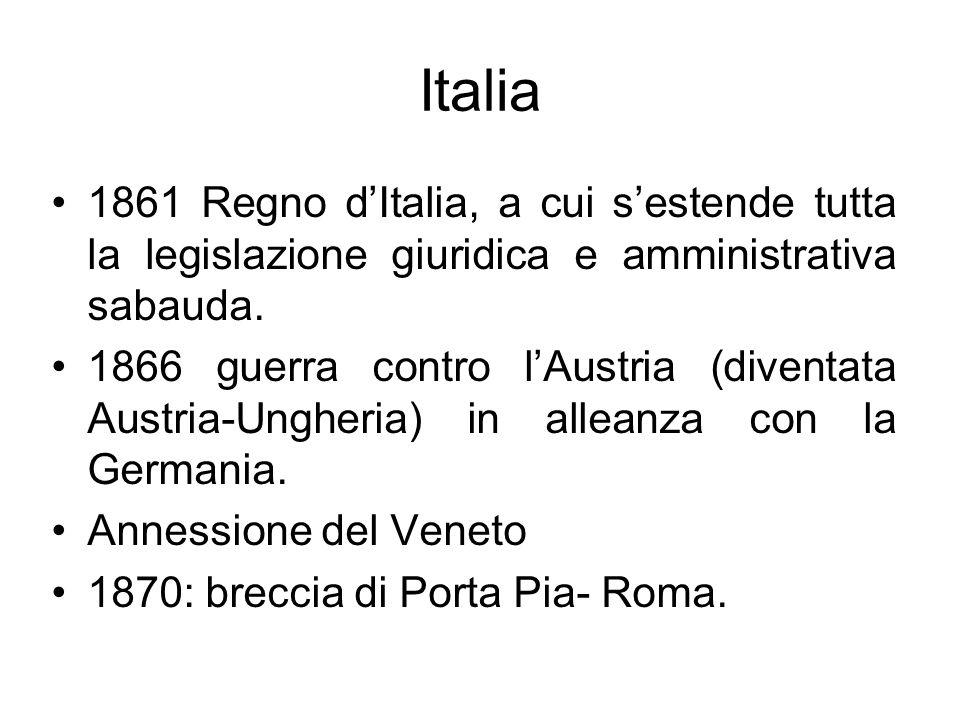 Italia 1861 Regno d'Italia, a cui s'estende tutta la legislazione giuridica e amministrativa sabauda.