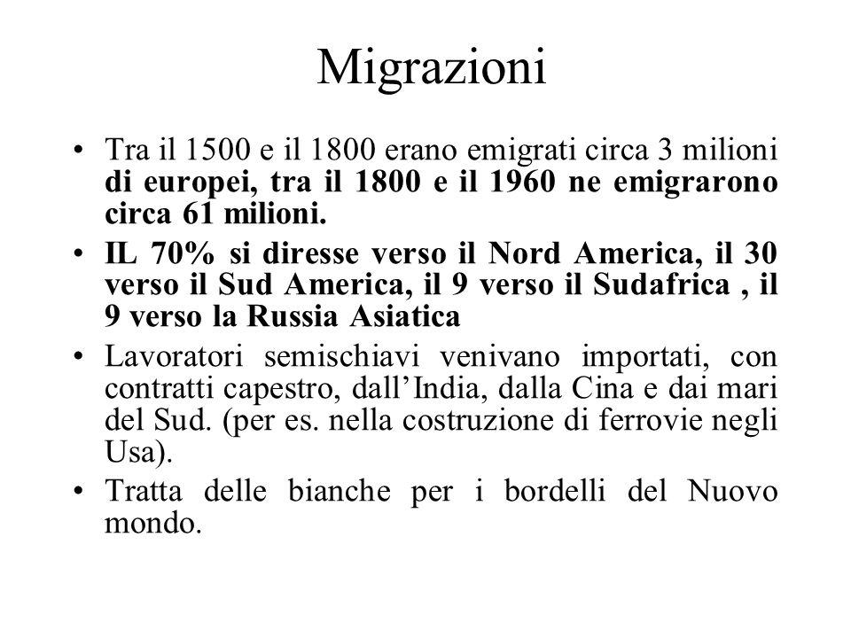 MigrazioniTra il 1500 e il 1800 erano emigrati circa 3 milioni di europei, tra il 1800 e il 1960 ne emigrarono circa 61 milioni.