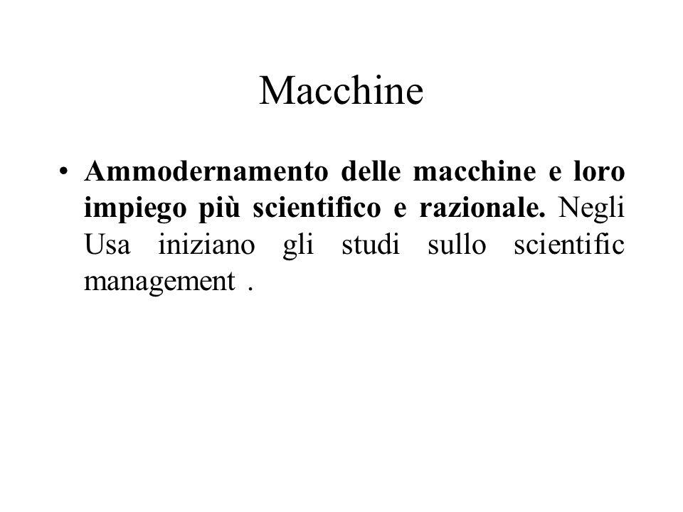 Macchine Ammodernamento delle macchine e loro impiego più scientifico e razionale.