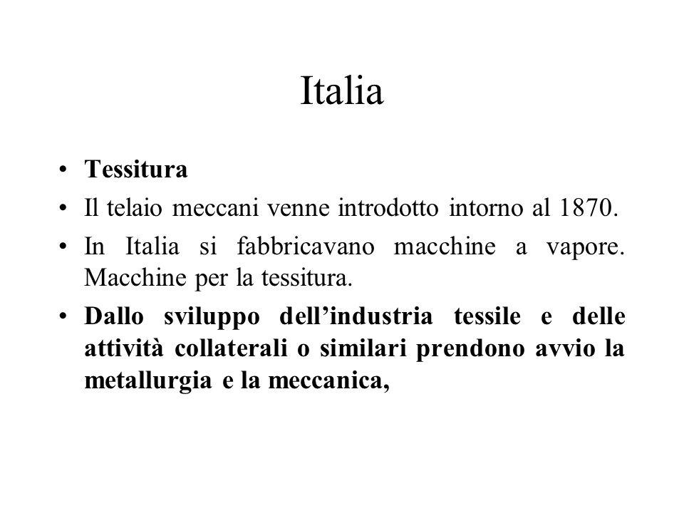 Italia Tessitura Il telaio meccani venne introdotto intorno al 1870.