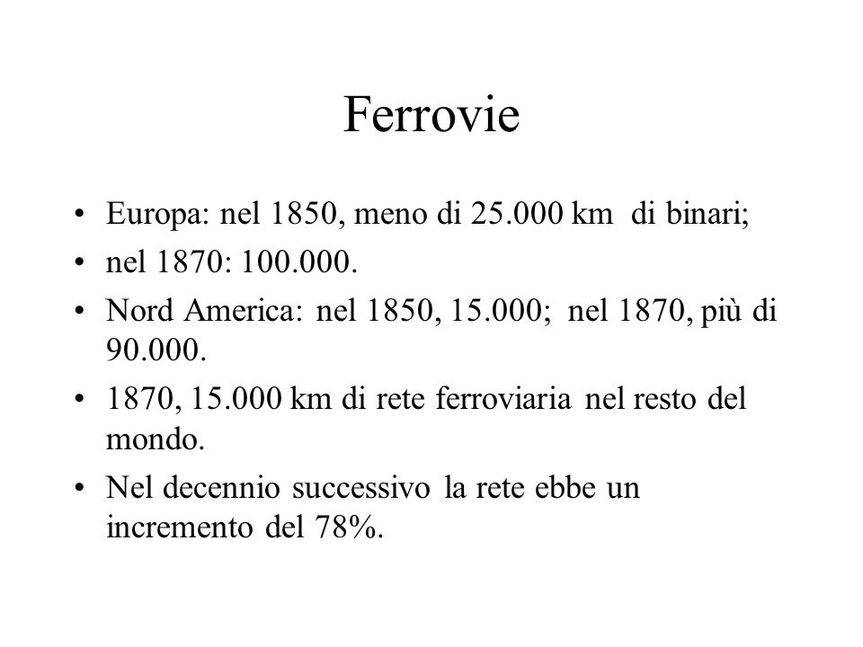 Ferrovie Europa: nel 1850, meno di 25.000 km di binari;