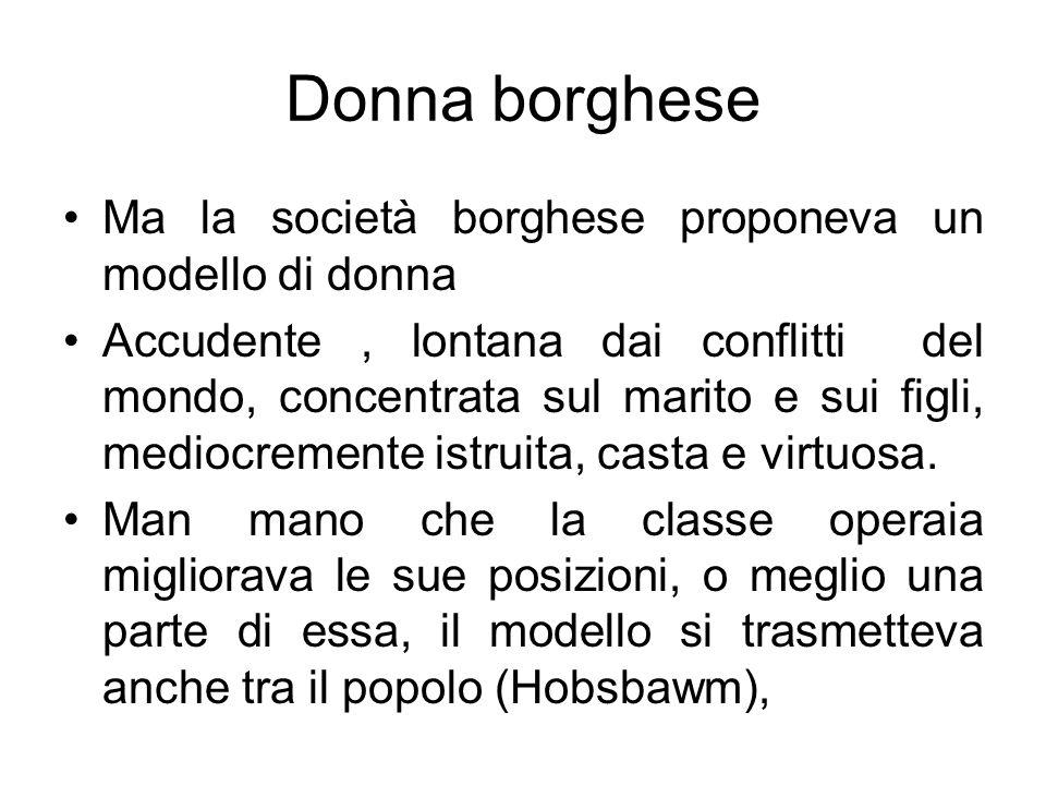 Donna borghese Ma la società borghese proponeva un modello di donna