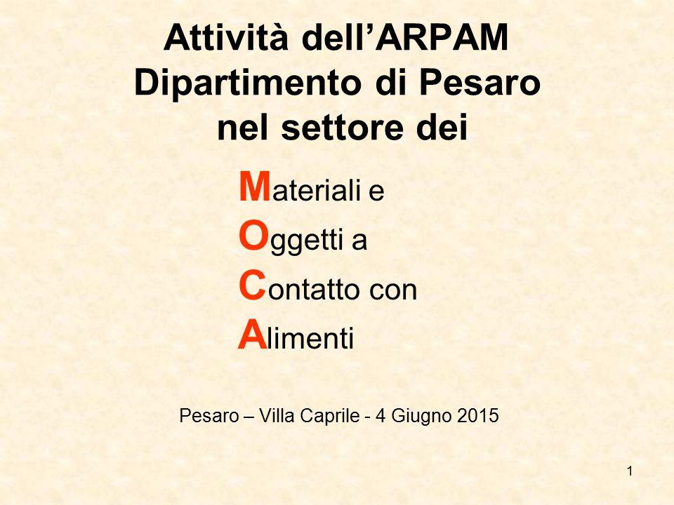 Attività dell'ARPAM Dipartimento di Pesaro nel settore dei
