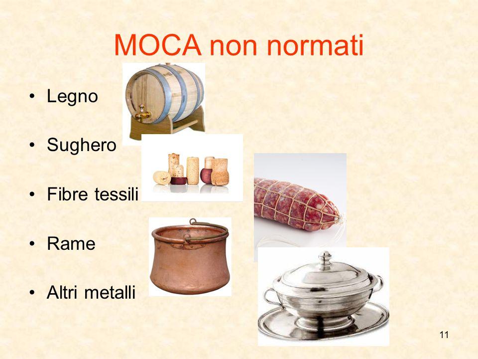 MOCA non normati Legno Sughero Fibre tessili Rame Altri metalli