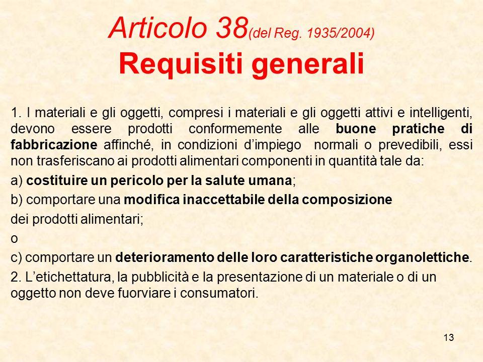 Articolo 38(del Reg. 1935/2004) Requisiti generali