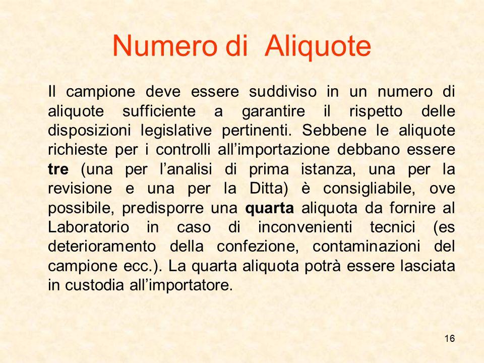 Numero di Aliquote