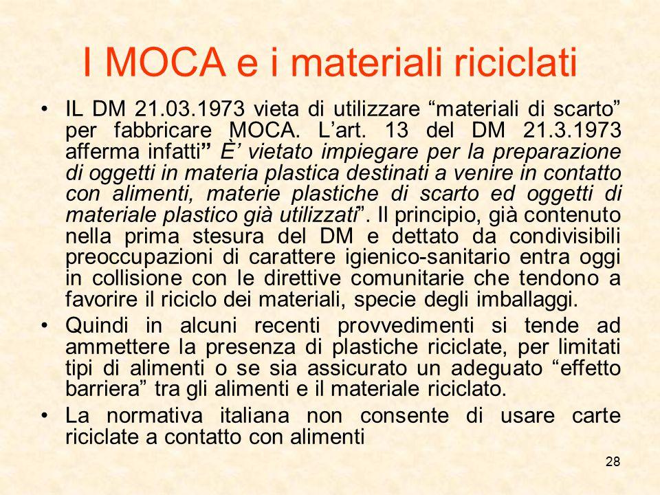 I MOCA e i materiali riciclati
