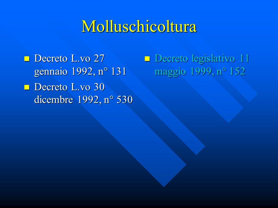 Molluschicoltura Decreto L.vo 27 gennaio 1992, n° 131