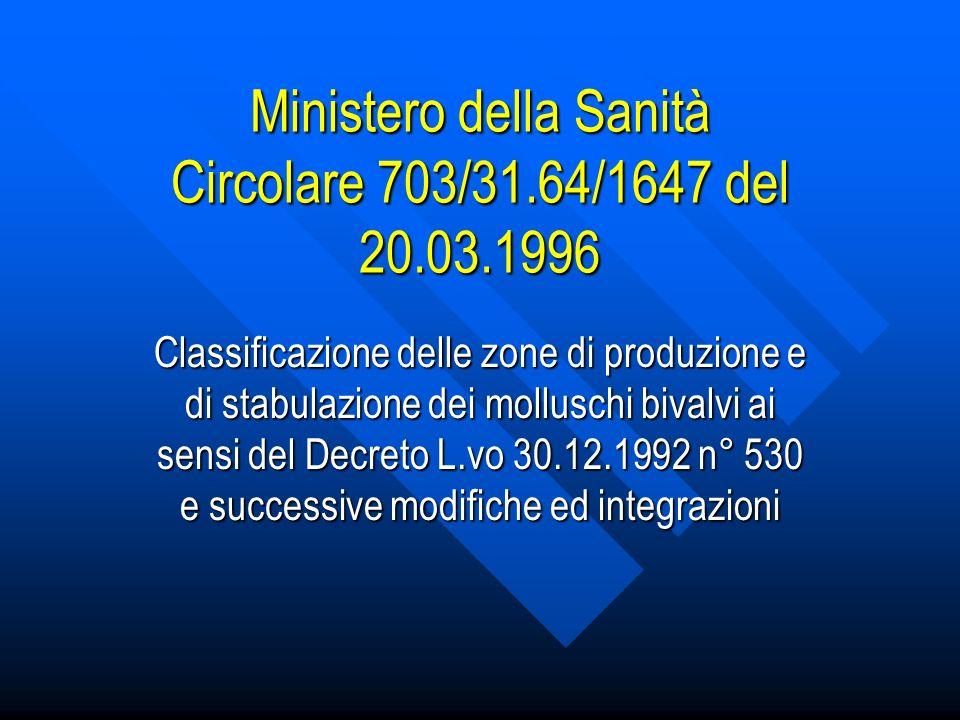 Ministero della Sanità Circolare 703/31.64/1647 del 20.03.1996