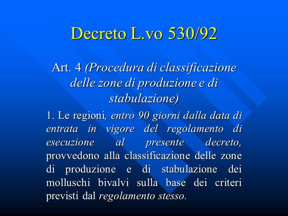 Decreto L.vo 530/92 Art. 4 (Procedura di classificazione delle zone di produzione e di stabulazione)