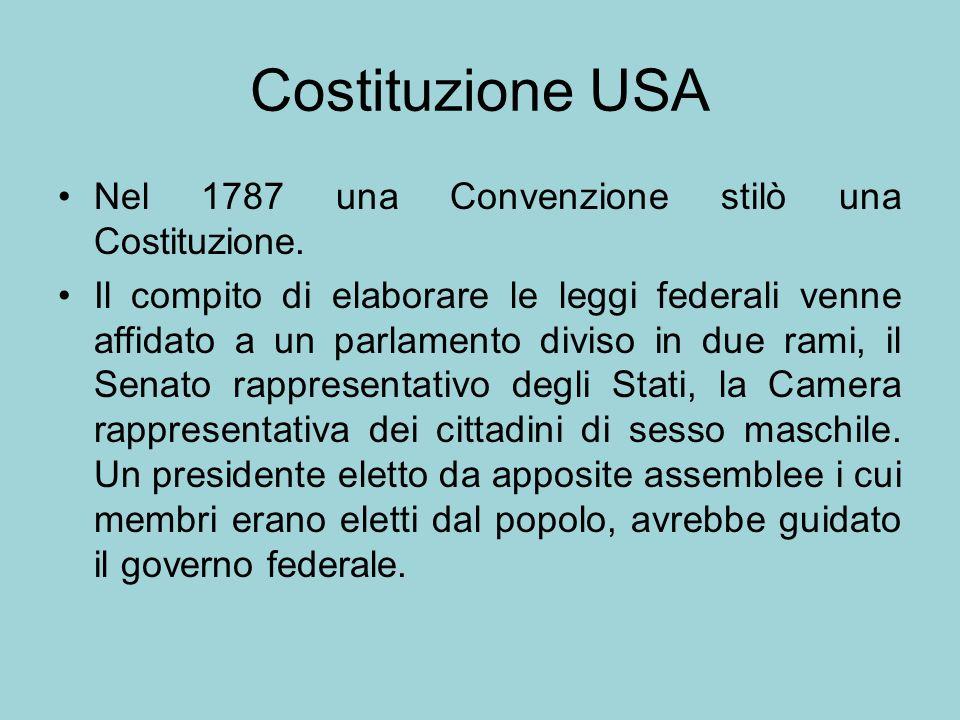 Costituzione USA Nel 1787 una Convenzione stilò una Costituzione.