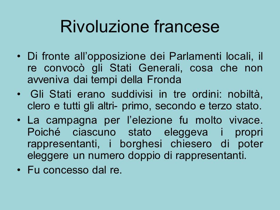 Rivoluzione francese Di fronte all'opposizione dei Parlamenti locali, il re convocò gli Stati Generali, cosa che non avveniva dai tempi della Fronda.