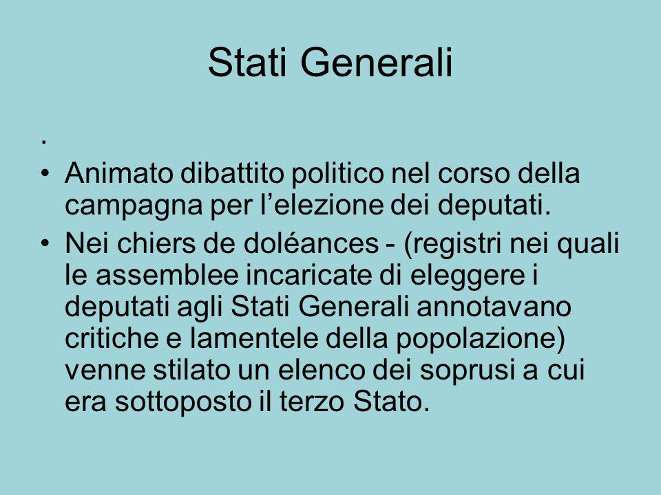 Stati Generali . Animato dibattito politico nel corso della campagna per l'elezione dei deputati.
