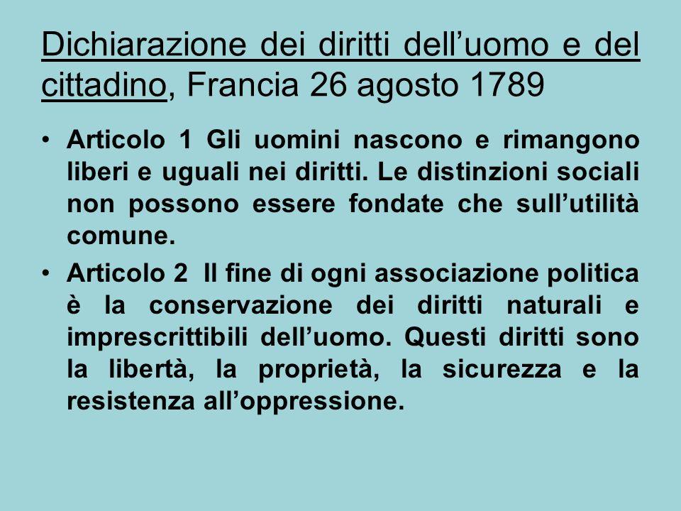 Dichiarazione dei diritti dell'uomo e del cittadino, Francia 26 agosto 1789