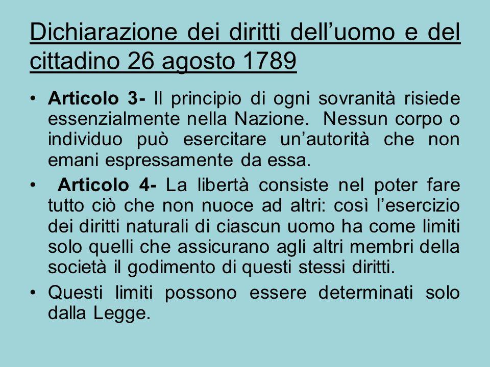 Dichiarazione dei diritti dell'uomo e del cittadino 26 agosto 1789