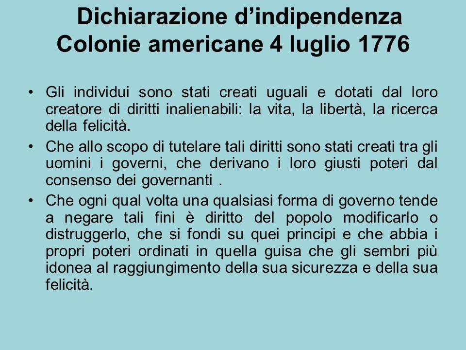 Dichiarazione d'indipendenza Colonie americane 4 luglio 1776