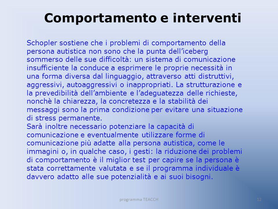 Comportamento e interventi